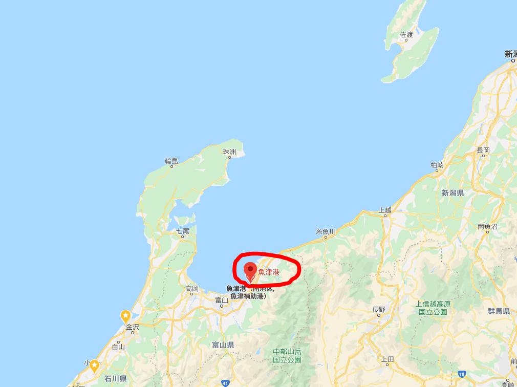 魚津港の位置